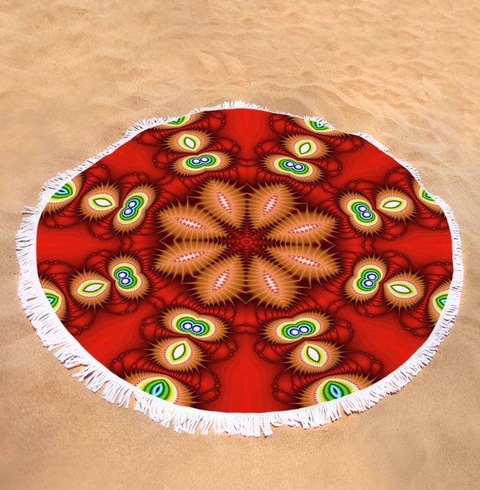 watcher's eyes round beach towel