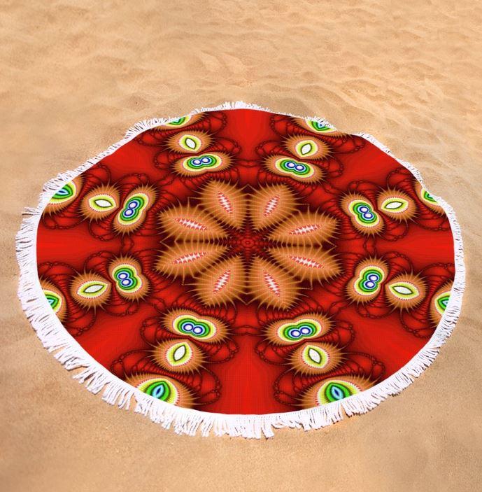 watcher's eyes round beach towel